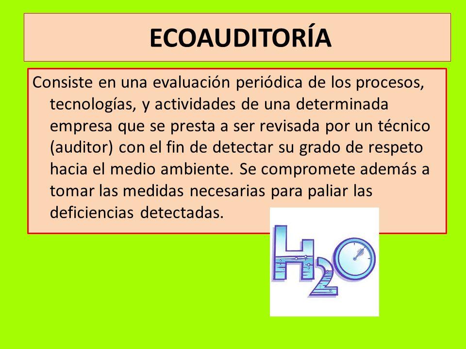 ECOAUDITORÍA Consiste en una evaluación periódica de los procesos, tecnologías, y actividades de una determinada empresa que se presta a ser revisada