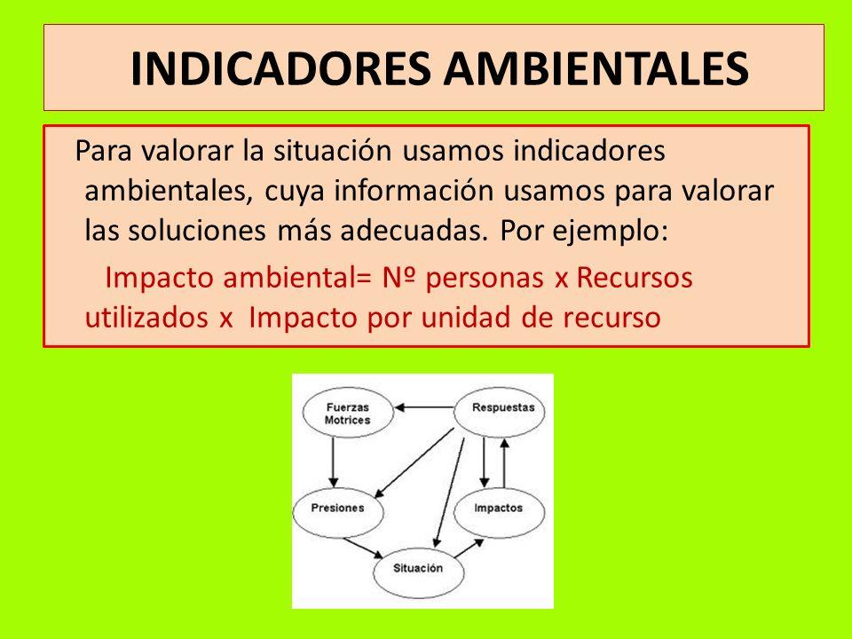 INDICADORES AMBIENTALES Para valorar la situación usamos indicadores ambientales, cuya información usamos para valorar las soluciones más adecuadas. P