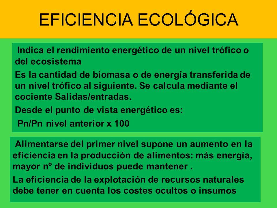 EFICIENCIA ECOLÓGICA Indica el rendimiento energético de un nivel trófico o del ecosistema Es la cantidad de biomasa o de energía transferida de un ni