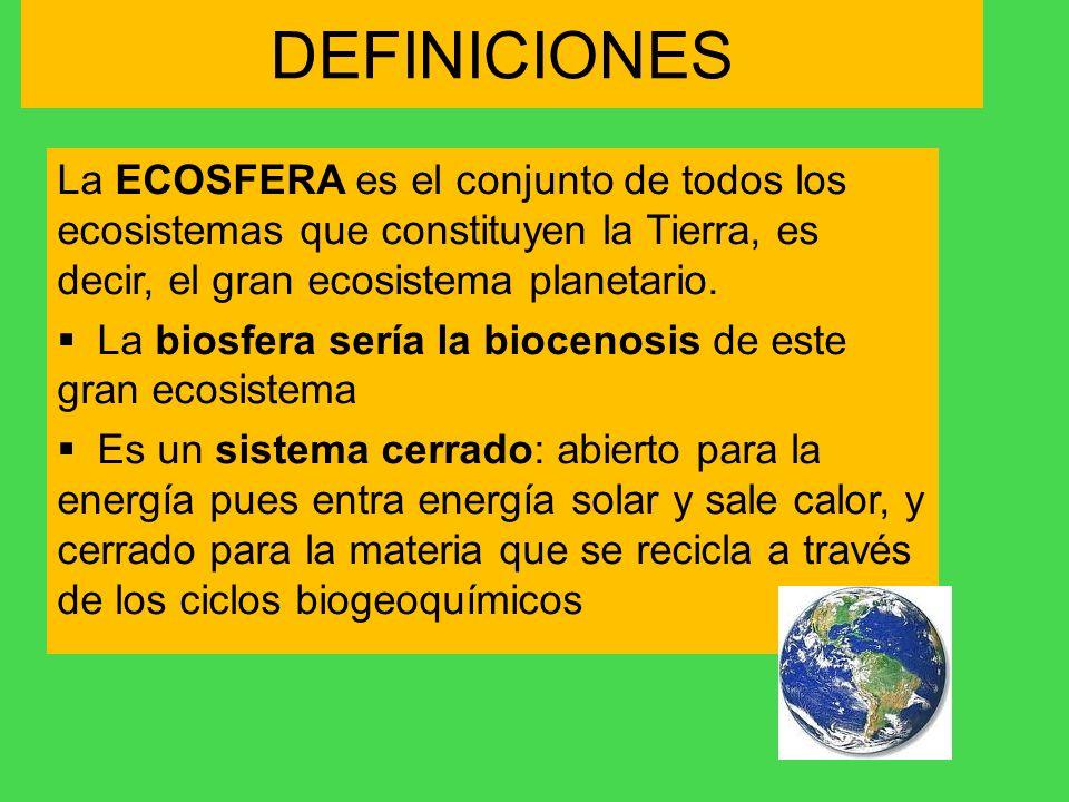 DEFINICIONES La ECOSFERA es el conjunto de todos los ecosistemas que constituyen la Tierra, es decir, el gran ecosistema planetario. La biosfera sería