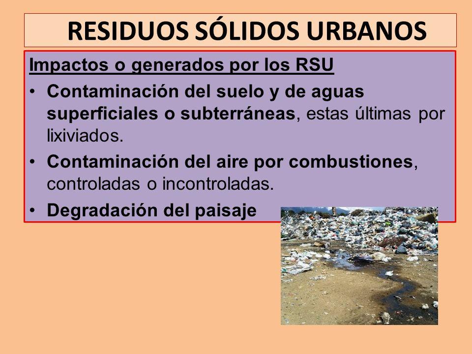 RESIDUOS SÓLIDOS URBANOS Impactos o generados por los RSU Contaminación del suelo y de aguas superficiales o subterráneas, estas últimas por lixiviado