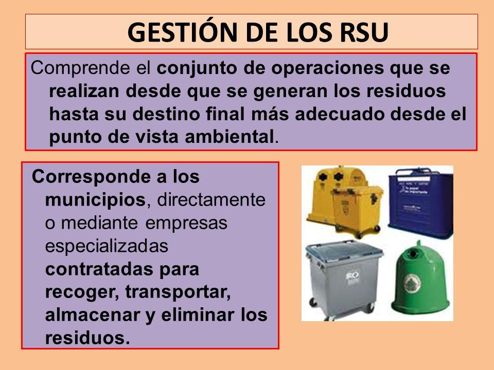 GESTIÓN DE LOS RSU Comprende el conjunto de operaciones que se realizan desde que se generan los residuos hasta su destino final más adecuado desde el