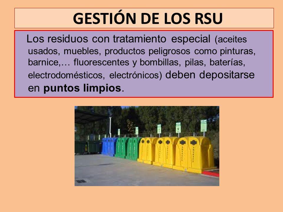 GESTIÓN DE LOS RSU Los residuos con tratamiento especial (aceites usados, muebles, productos peligrosos como pinturas, barnice,… fluorescentes y bombi