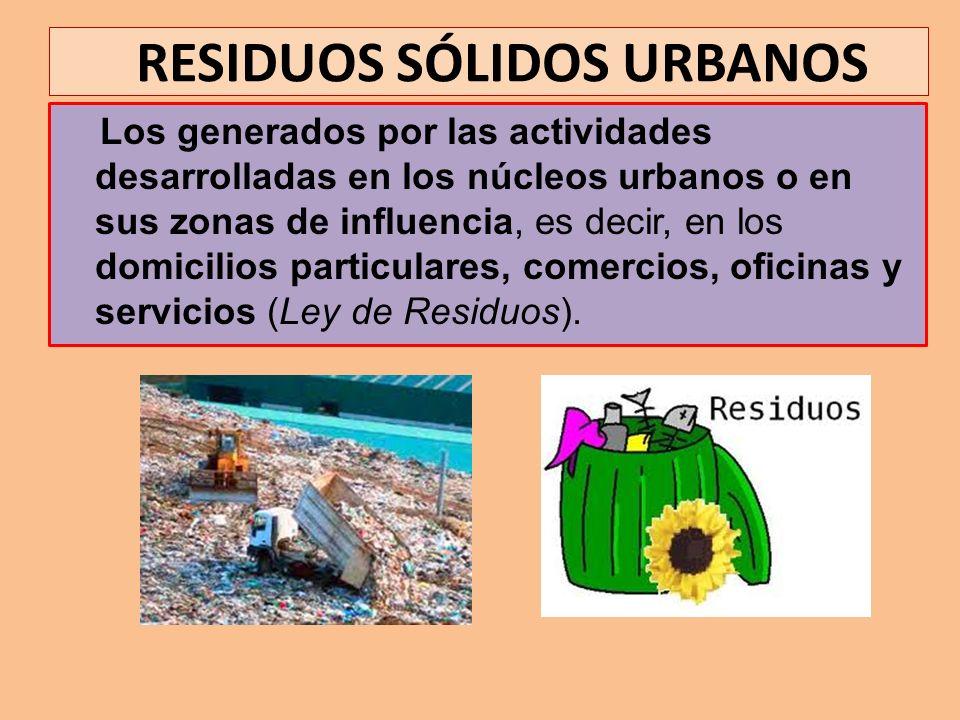 RESIDUOS SÓLIDOS URBANOS Los generados por las actividades desarrolladas en los núcleos urbanos o en sus zonas de influencia, es decir, en los domicil
