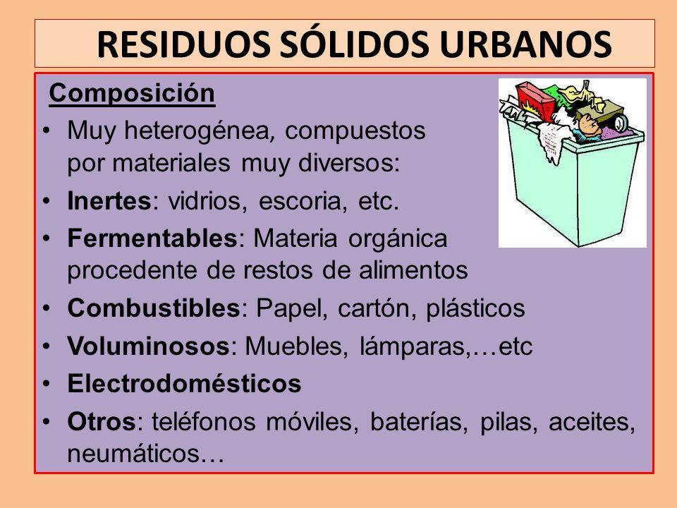 RESIDUOS SÓLIDOS URBANOS Composición Muy heterogénea, compuestos por materiales muy diversos: Inertes: vidrios, escoria, etc. Fermentables: Materia or