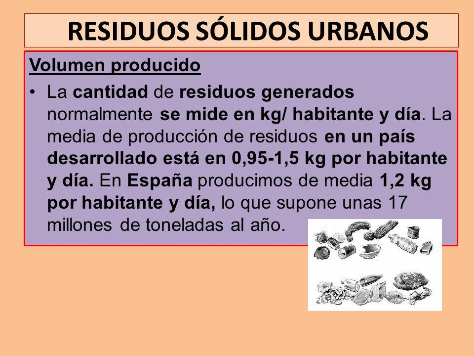 RESIDUOS SÓLIDOS URBANOS Volumen producido La cantidad de residuos generados normalmente se mide en kg/ habitante y día. La media de producción de res