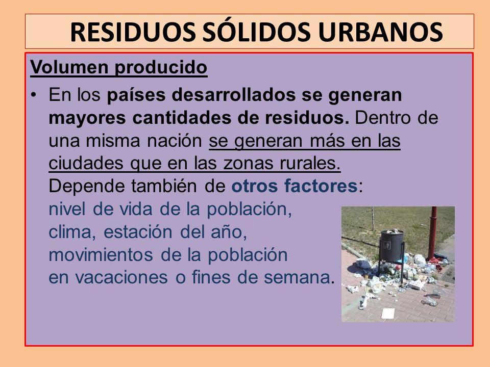 RESIDUOS SÓLIDOS URBANOS Características de los RSU Según su tratamiento posterior destacamos: Grado de humedad: Determina su capacidad calorífica y fermentativa.