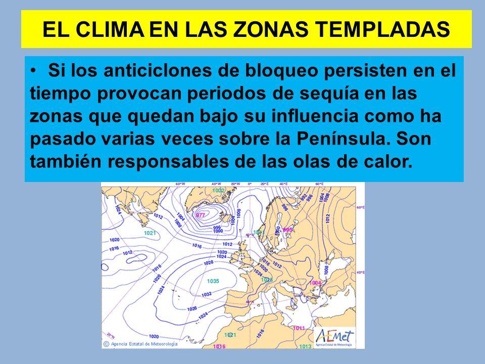 EL CLIMA EN LAS ZONAS TEMPLADAS Si los anticiclones de bloqueo persisten en el tiempo provocan periodos de sequía en las zonas que quedan bajo su infl