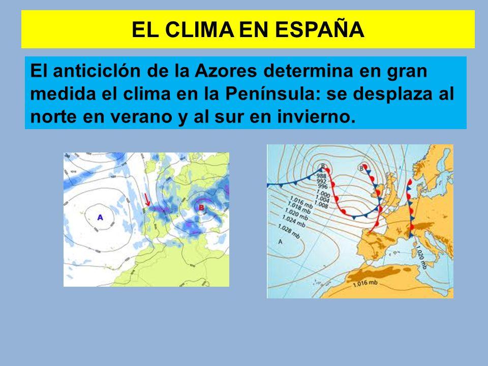 EL CLIMA EN ESPAÑA El anticiclón de la Azores determina en gran medida el clima en la Península: se desplaza al norte en verano y al sur en invierno.