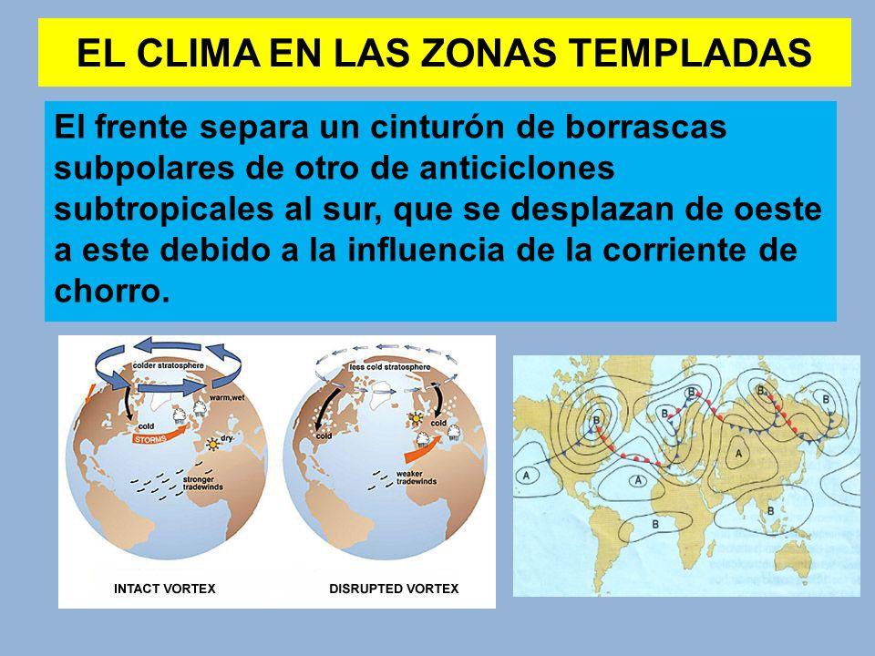 EL CLIMA EN LAS ZONAS TEMPLADAS El clima de latitudes medias va a depender de la latitud ocupada por las borrascas subpolares y los anticiclones subtropicales, que dependen a su vez de la posición del frente polar y la corriente de chorro.