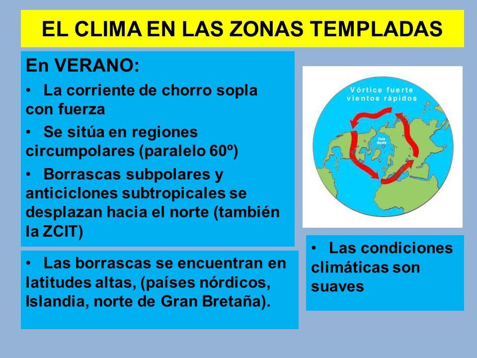 EL CLIMA EN LAS ZONAS TEMPLADAS En VERANO: La corriente de chorro sopla con fuerza Se sitúa en regiones circumpolares (paralelo 60º) Borrascas subpola