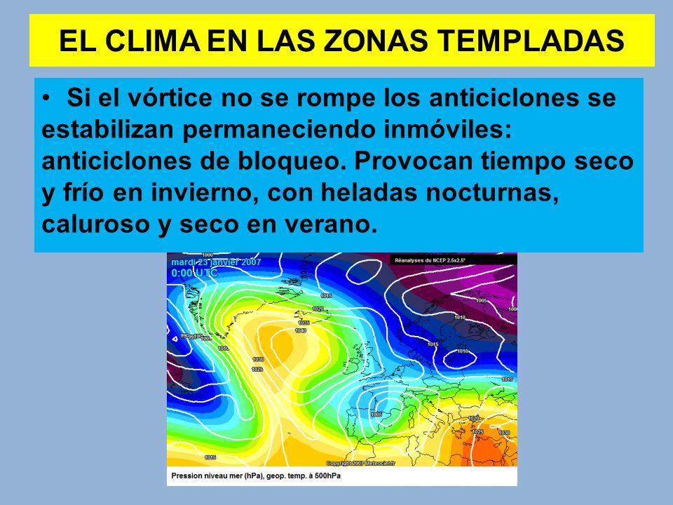 EL CLIMA EN LAS ZONAS TEMPLADAS Si el vórtice no se rompe los anticiclones se estabilizan permaneciendo inmóviles: anticiclones de bloqueo. Provocan t