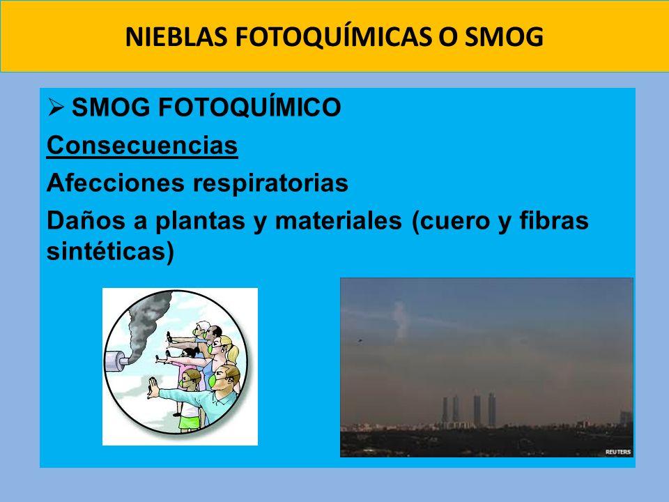 NIEBLAS FOTOQUÍMICAS O SMOG SMOG FOTOQUÍMICO Consecuencias Afecciones respiratorias Daños a plantas y materiales (cuero y fibras sintéticas)