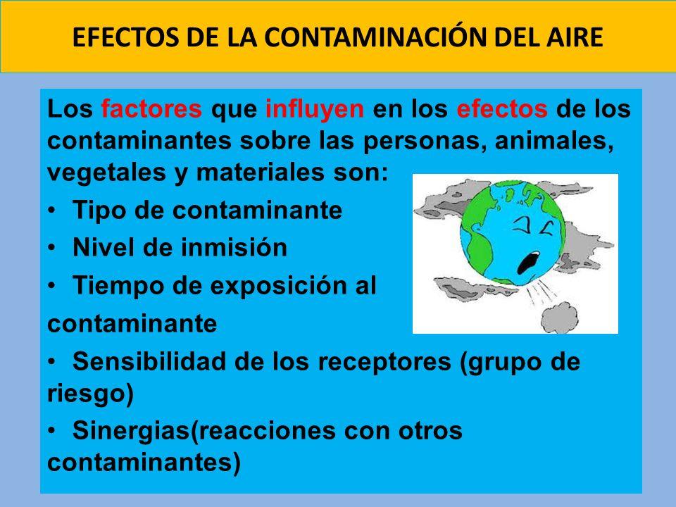 EFECTOS DE LA CONTAMINACIÓN DEL AIRE Los factores que influyen en los efectos de los contaminantes sobre las personas, animales, vegetales y materiale