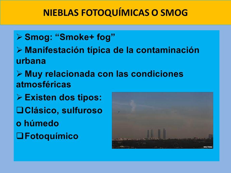 NIEBLAS FOTOQUÍMICAS O SMOG Smog: Smoke+ fog Manifestación típica de la contaminación urbana Muy relacionada con las condiciones atmosféricas Existen
