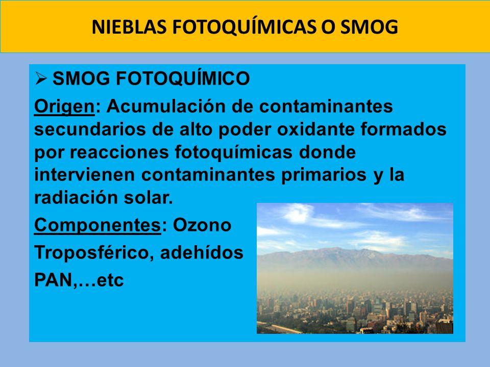 NIEBLAS FOTOQUÍMICAS O SMOG SMOG FOTOQUÍMICO Origen: Acumulación de contaminantes secundarios de alto poder oxidante formados por reacciones fotoquími