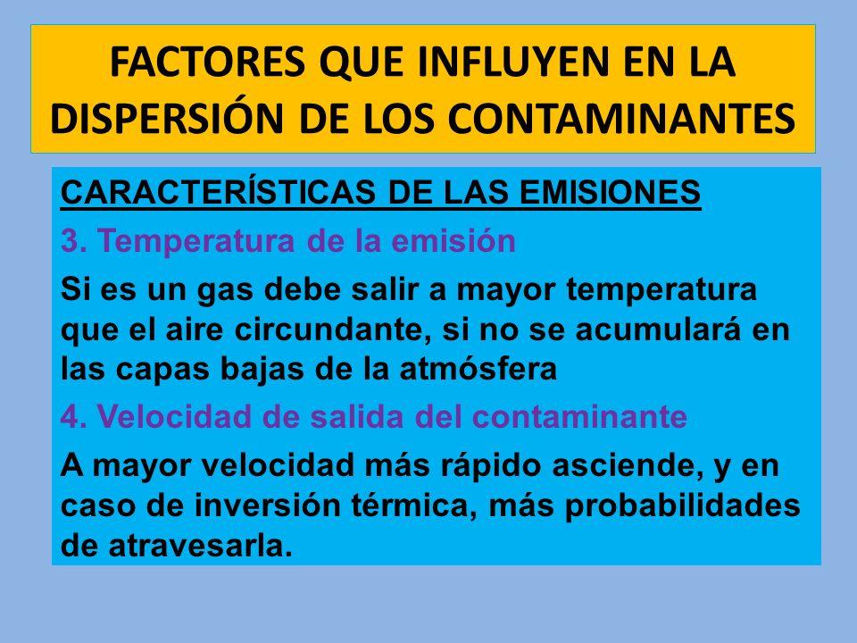 FACTORES QUE INFLUYEN EN LA DISPERSIÓN DE LOS CONTAMINANTES CARACTERÍSTICAS DE LAS EMISIONES 3. Temperatura de la emisión Si es un gas debe salir a ma