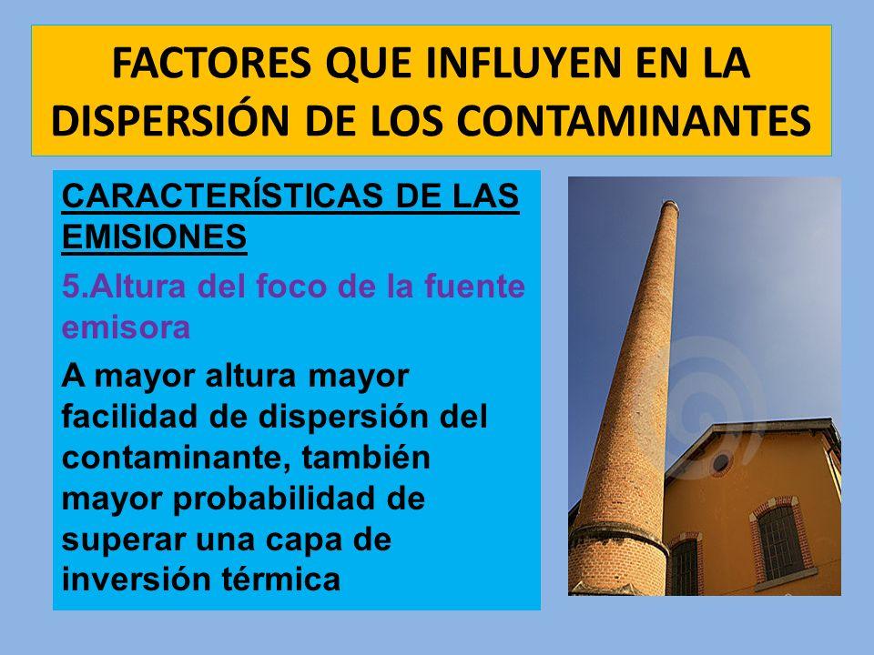 FACTORES QUE INFLUYEN EN LA DISPERSIÓN DE LOS CONTAMINANTES CARACTERÍSTICAS DE LAS EMISIONES 5.Altura del foco de la fuente emisora A mayor altura may