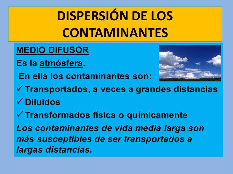 DISPERSIÓN DE LOS CONTAMINANTES MEDIO DIFUSOR Es la atmósfera. En ella los contaminantes son: Transportados, a veces a grandes distancias Diluidos Tra