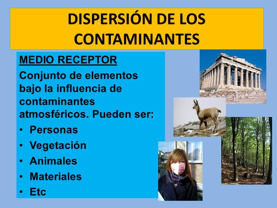 DISPERSIÓN DE LOS CONTAMINANTES MEDIO RECEPTOR Conjunto de elementos bajo la influencia de contaminantes atmosféricos. Pueden ser: Personas Vegetación
