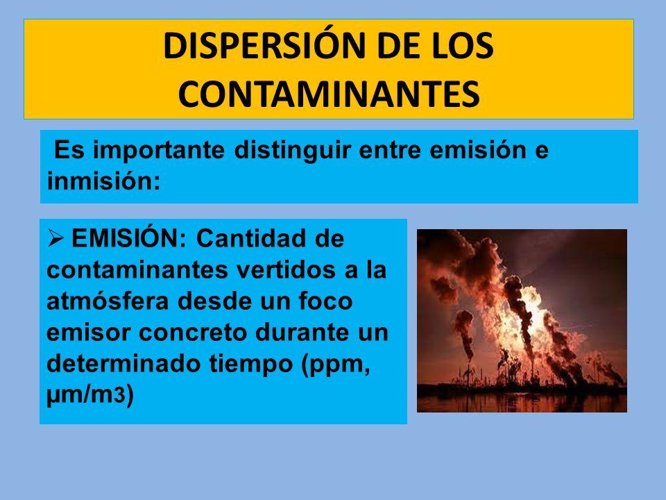 DISPERSIÓN DE LOS CONTAMINANTES EMISIÓN: Cantidad de contaminantes vertidos a la atmósfera desde un foco emisor concreto durante un determinado tiempo