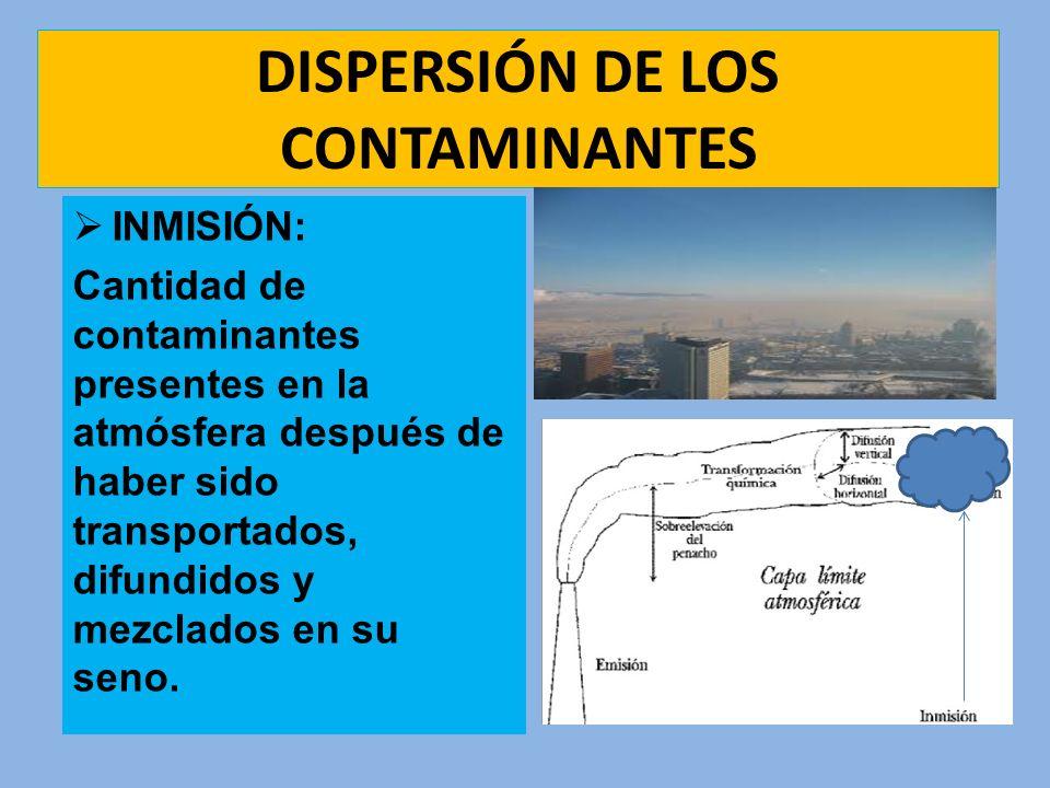 DISPERSIÓN DE LOS CONTAMINANTES INMISIÓN: Cantidad de contaminantes presentes en la atmósfera después de haber sido transportados, difundidos y mezcla