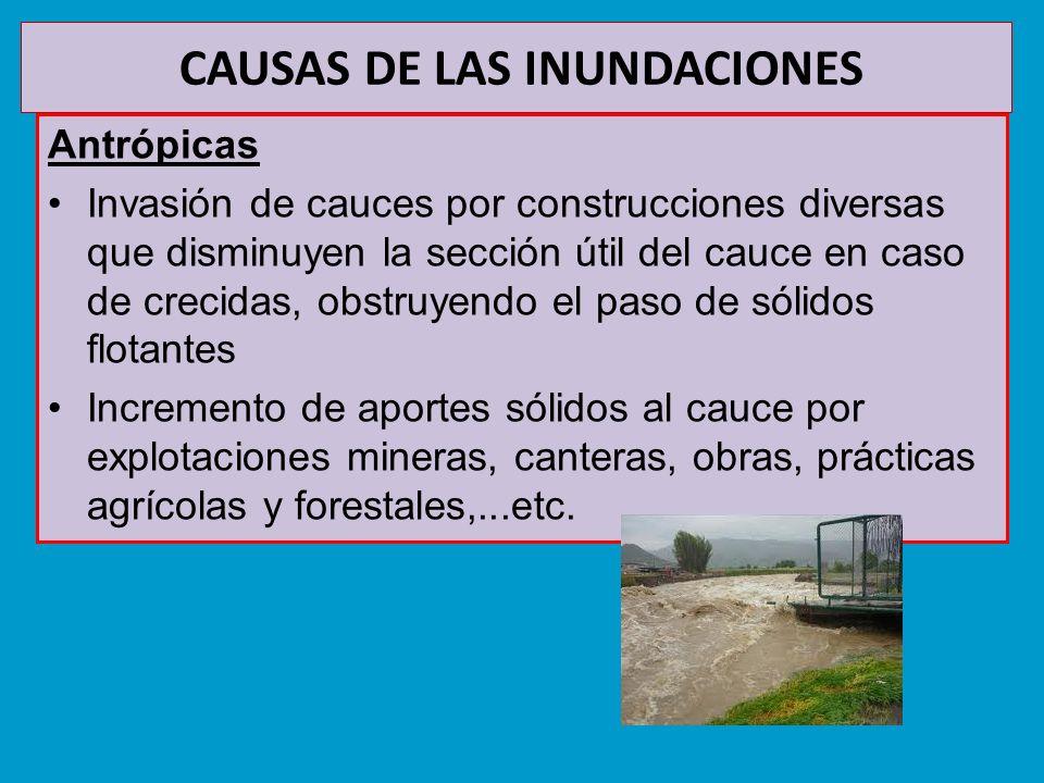 CAUSAS DE LAS INUNDACIONES Antrópicas Invasión de cauces por construcciones diversas que disminuyen la sección útil del cauce en caso de crecidas, obs