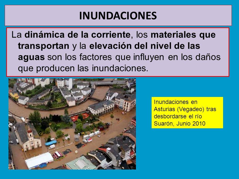 INUNDACIONES La dinámica de la corriente, los materiales que transportan y la elevación del nivel de las aguas son los factores que influyen en los da