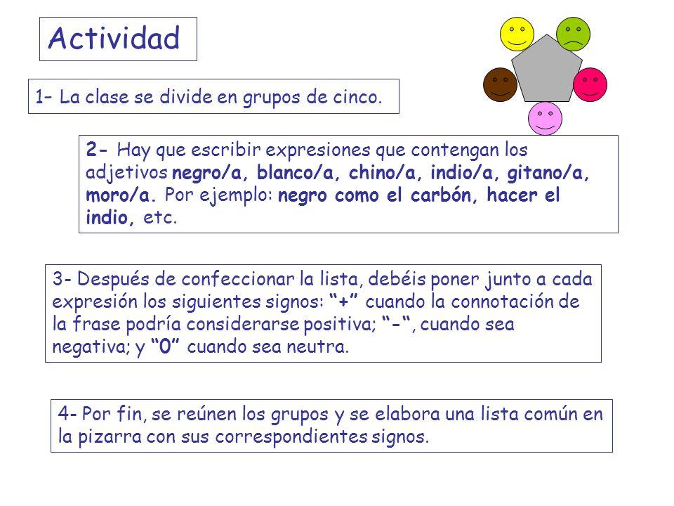2- Hay que escribir expresiones que contengan los adjetivos negro/a, blanco/a, chino/a, indio/a, gitano/a, moro/a. Por ejemplo: negro como el carbón,