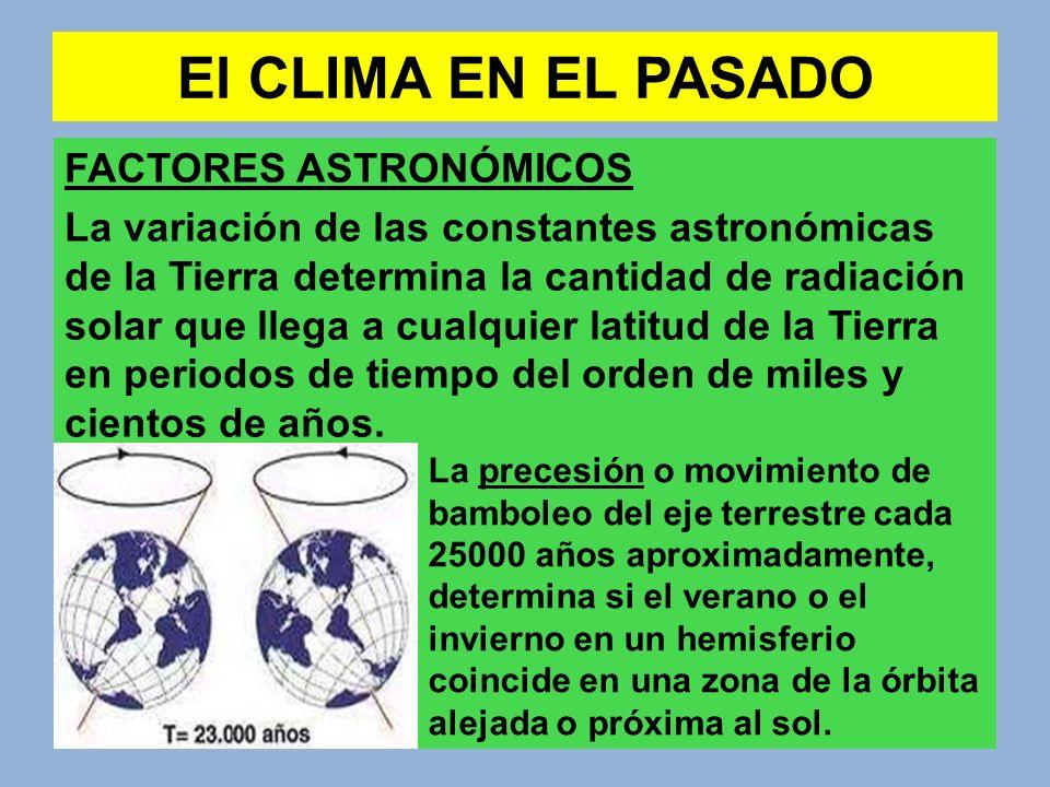 El CLIMA EN EL PASADO FACTORES ASTRONÓMICOS La variación de las constantes astronómicas de la Tierra determina la cantidad de radiación solar que lleg