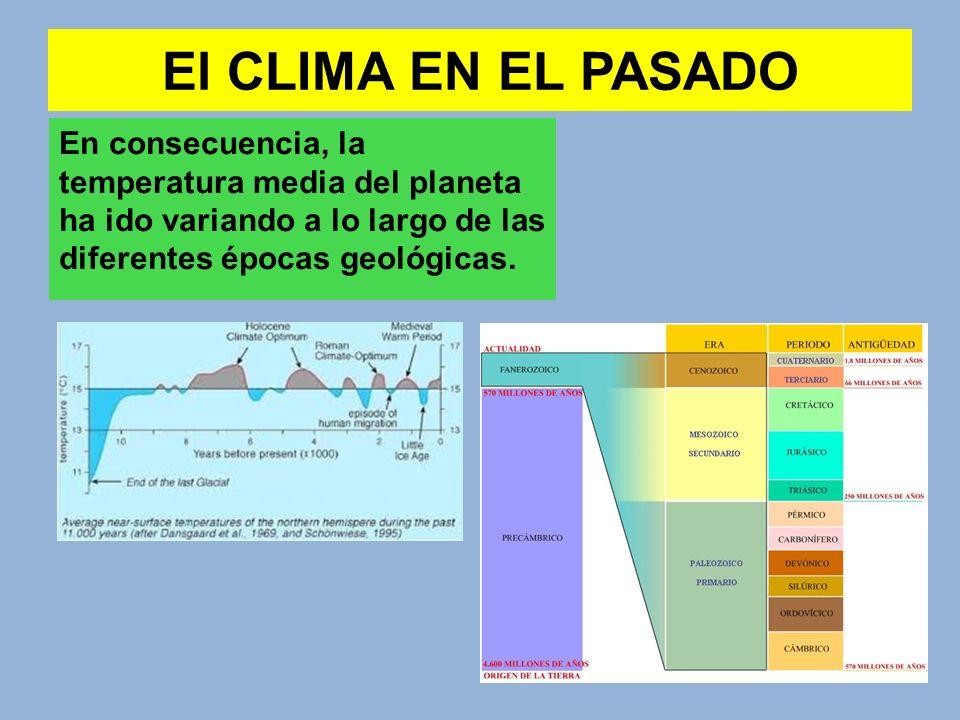 El CLIMA EN EL PASADO En consecuencia, la temperatura media del planeta ha ido variando a lo largo de las diferentes épocas geológicas.