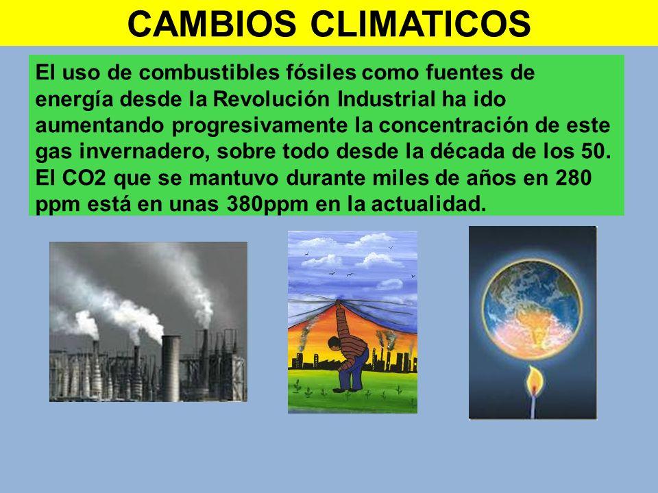CAMBIOS CLIMATICOS El uso de combustibles fósiles como fuentes de energía desde la Revolución Industrial ha ido aumentando progresivamente la concentr