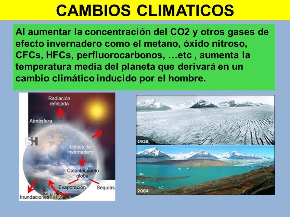 CAMBIOS CLIMATICOS Al aumentar la concentración del CO2 y otros gases de efecto invernadero como el metano, óxido nitroso, CFCs, HFCs, perfluorocarbon