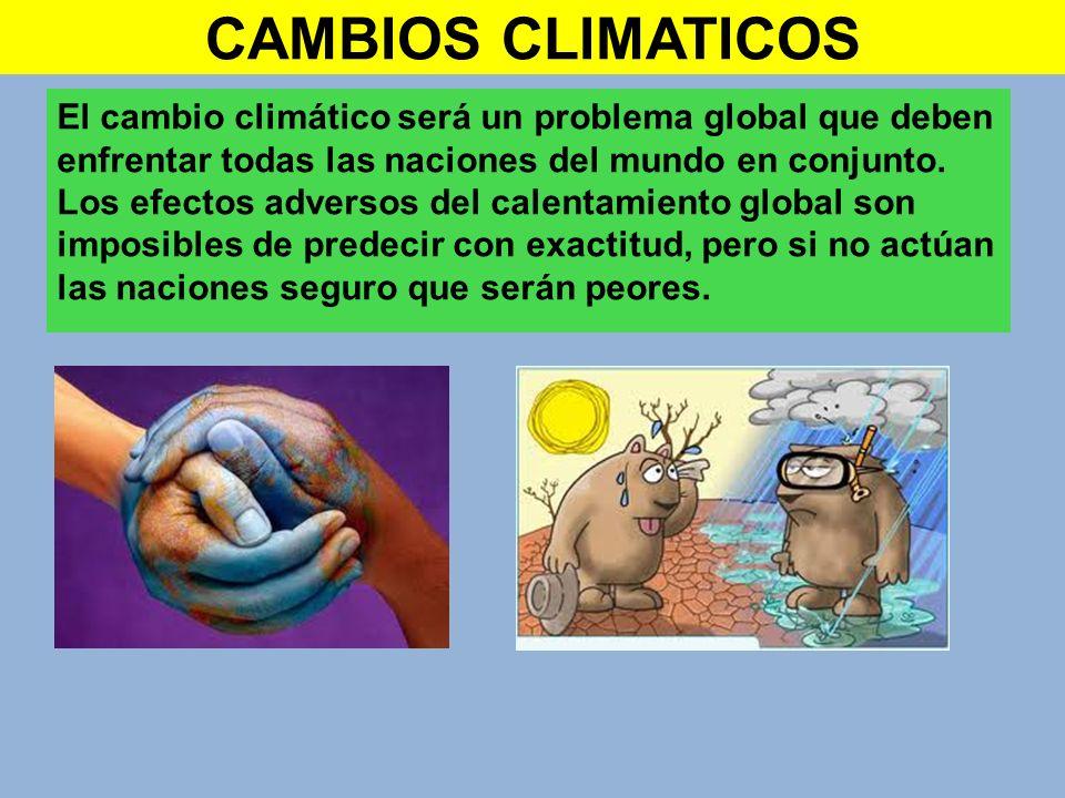 CAMBIOS CLIMATICOS El cambio climático será un problema global que deben enfrentar todas las naciones del mundo en conjunto. Los efectos adversos del