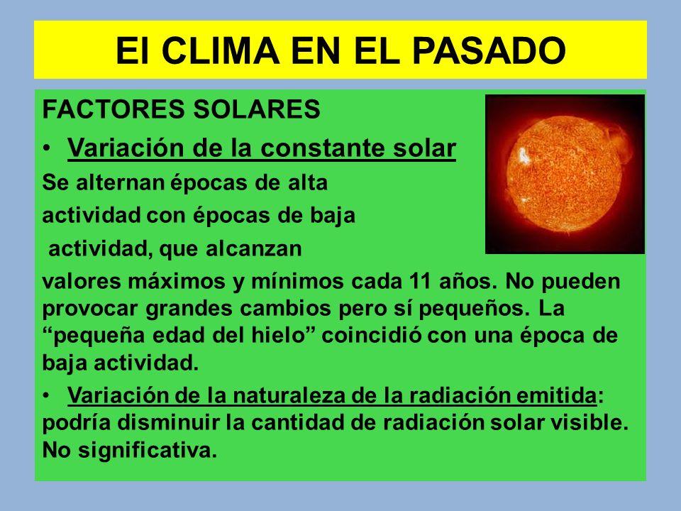 El CLIMA EN EL PASADO FACTORES SOLARES Variación de la constante solar Se alternan épocas de alta actividad con épocas de baja actividad, que alcanzan