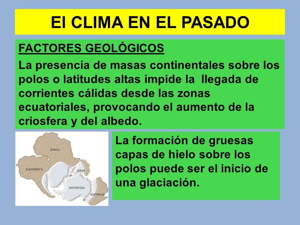 El CLIMA EN EL PASADO FACTORES GEOLÓGICOS La presencia de masas continentales sobre los polos o latitudes altas impide la llegada de corrientes cálida