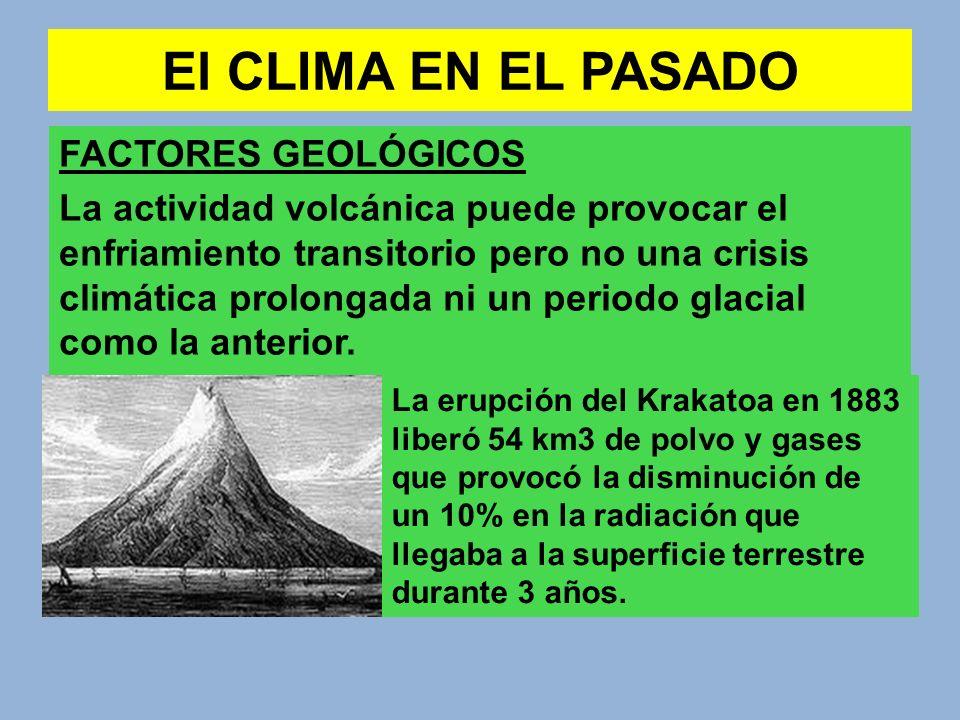 El CLIMA EN EL PASADO FACTORES GEOLÓGICOS La actividad volcánica puede provocar el enfriamiento transitorio pero no una crisis climática prolongada ni