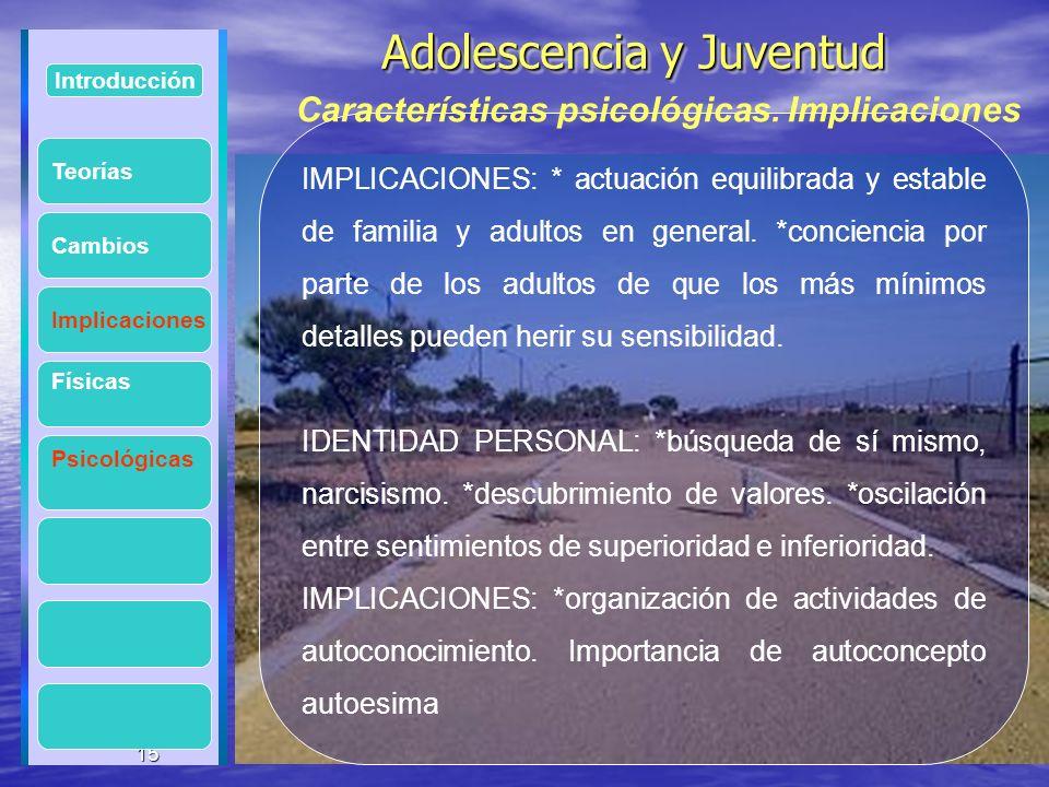 15 Adolescencia y Juventud Adolescencia y Juventud 15 Introducción Implicaciones Físicas Psicológicas Cambios IMPLICACIONES: * actuación equilibrada y