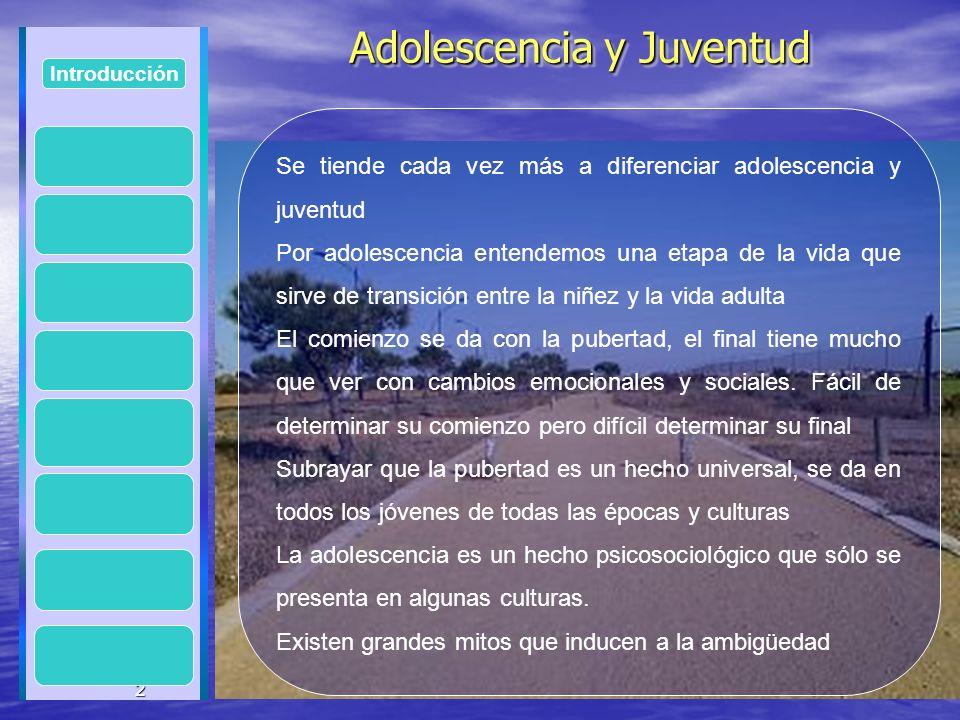 2 Adolescencia y Juventud Adolescencia y Juventud 2 Introducción Se tiende cada vez más a diferenciar adolescencia y juventud Por adolescencia entende
