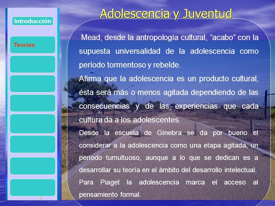 4 Adolescencia y Juventud Adolescencia y Juventud 4 Introducción Mead, desde la antropología cultural, acabo con la supuesta universalidad de la adole