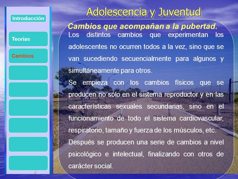6 Adolescencia y Juventud Adolescencia y Juventud 6 Introducción Cambios Los distintos cambios que experimentan los adolescentes no ocurren todos a la