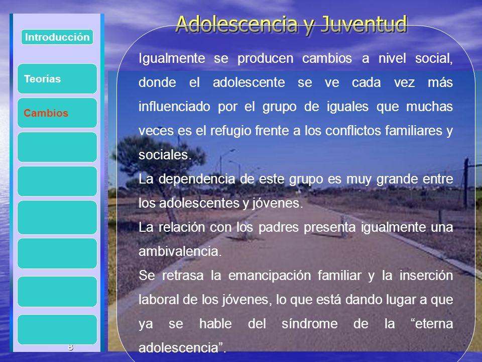 8 Adolescencia y Juventud Adolescencia y Juventud 8 Introducción Cambios Igualmente se producen cambios a nivel social, donde el adolescente se ve cad