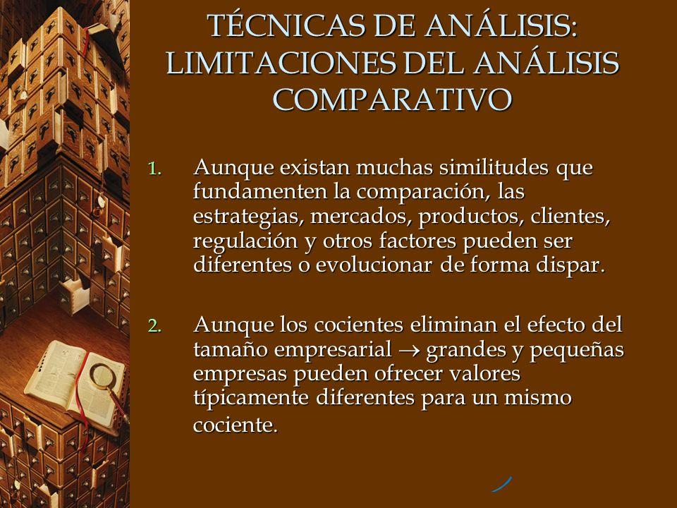 TÉCNICAS DE ANÁLISIS: LIMITACIONES DEL ANÁLISIS COMPARATIVO 1. Aunque existan muchas similitudes que fundamenten la comparación, las estrategias, merc