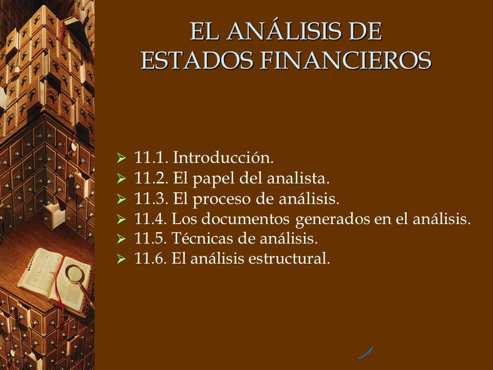 EL ANÁLISIS DE ESTADOS FINANCIEROS 11.1. Introducción. 11.2. El papel del analista. 11.3. El proceso de análisis. 11.4. Los documentos generados en el