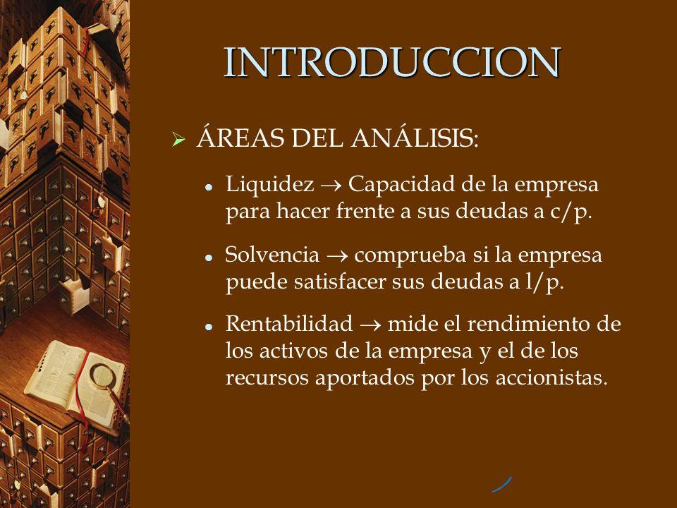 INTRODUCCION ÁREAS DEL ANÁLISIS: Liquidez Capacidad de la empresa para hacer frente a sus deudas a c/p. Solvencia comprueba si la empresa puede satisf