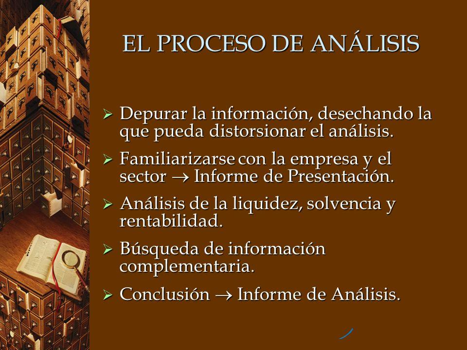EL PROCESO DE ANÁLISIS Depurar la información, desechando la que pueda distorsionar el análisis. Depurar la información, desechando la que pueda disto
