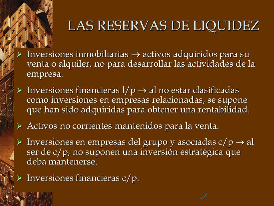 LAS RESERVAS DE LIQUIDEZ Inversiones inmobiliarias activos adquiridos para su venta o alquiler, no para desarrollar las actividades de la empresa. Inv