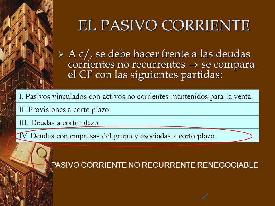 EL PASIVO CORRIENTE A c/, se debe hacer frente a las deudas corrientes no recurrentes se compara el CF con las siguientes partidas: A c/, se debe hace