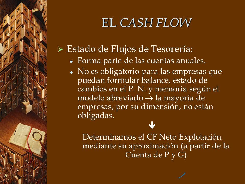 EL CASH FLOW Estado de Flujos de Tesorería: Forma parte de las cuentas anuales. No es obligatorio para las empresas que puedan formular balance, estad