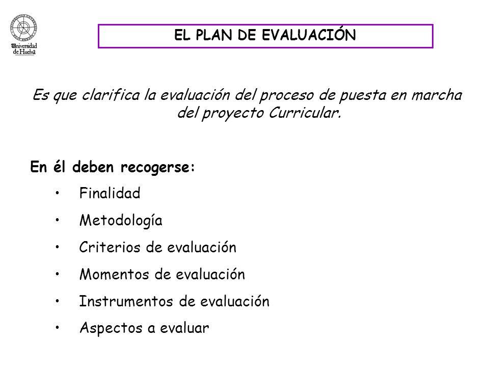 EL PLAN DE EVALUACIÓN Es que clarifica la evaluación del proceso de puesta en marcha del proyecto Curricular. En él deben recogerse: Finalidad Metodol